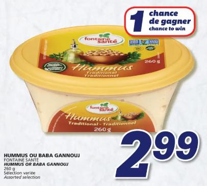 Hummus ou Baba Gannouj Fontaine Santé du 27 au 4 mars 2020