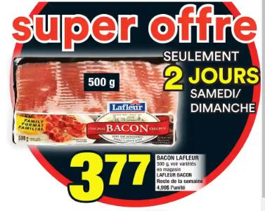Lafleur Bacon 500g du 27 au 4 mars 2020