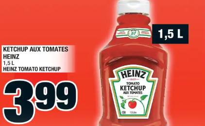 Ketchup aux Tomates Heinz 1,5 L du 27 au 4 mars 2020