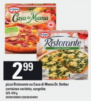 Pizza Ristorante ou Casa Di Mama Dr. Oetker du 28 au 3 juin 2020