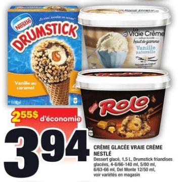Crème Glacée Vraie Crème Nestlé, Dessert Glacé, Drumstick Friandises Glacées, DEL Monte du 28 au 3 juin 2020