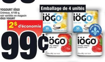 Yogourt Iögo du 28 au 3 juin 2020