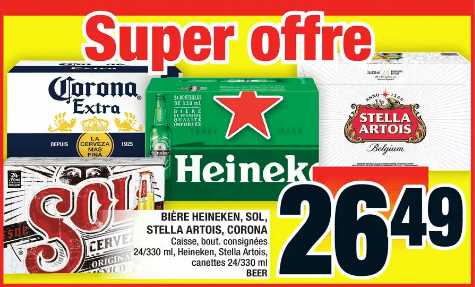 Bière Heineken, Sol, Stella Artois, Corona caisse de 24 du 28 au 4 décembre 2019
