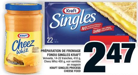 Préparation de Fromage Fondu Singles Kraft 410g du 28 au 4 décembre 2019
