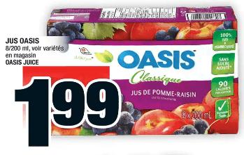 Jus Oasis 8 X 200 ml du 28 au 4 décembre 2019