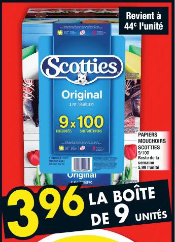 Papiers Mouchoirs 9 boites du 28 au 4 décembre 2019