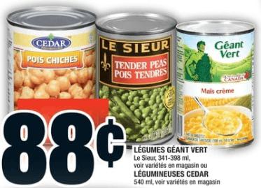 Légumes Géant Vert le Sieur 398 ml ou Légumineuses Cedar 540 ml du 3 au 9 octobre 2019