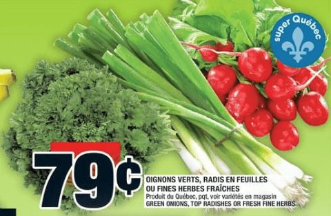 Oignons Verts, Radis en Feuilles ou Fines Herbes Fraîches du 3 au 9 octobre 2019