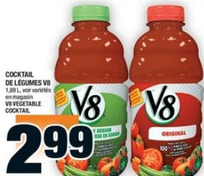 Cocktail de Légumes V8 1,89L du 3 au 9 octobre 2019