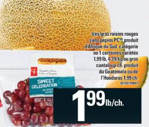 Très Gros Raisins Rouges Sans Pépins Pc ou Gros Cantaloup du 30 au 5 février 2020