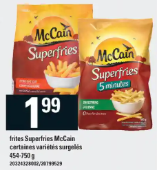 Frites Superfries Mccain du 30 au 5 février 2020