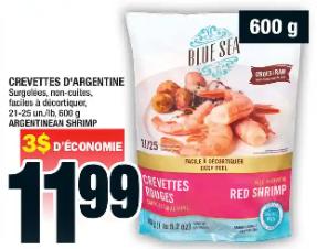 Crevettes D'argentine 600g 21-25 du 30 au 5 février 2020