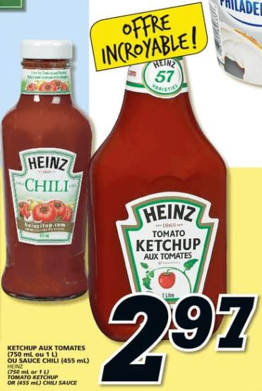 Ketchup aux Tomates ou Sauce Chili Heinz 750 ml - 1L du 30 au 5 juin 2019