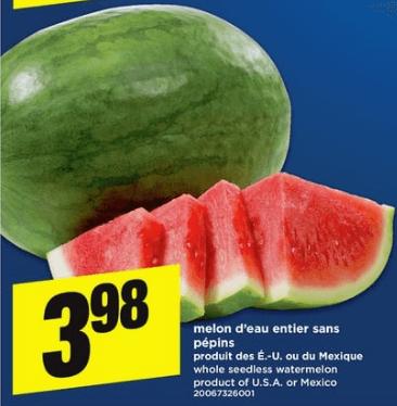 Melon D'eau Entier Sans Pépins du 30 au 5 juin 2019