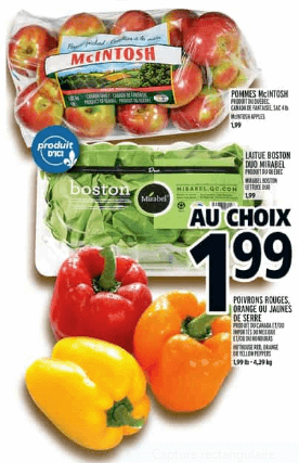 Pommes McIntosh 4 lb ou Laitue Boston en duo du 30 au 5 juin 2019