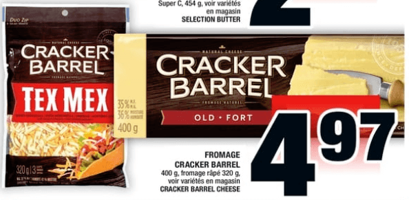 Fromage Cracker Barrel 400g, Fromage Râpé 320g du 30 au 5 juin 2019