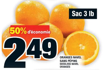 Oranges Navel Sans Pépins 3 lb du 30 au 6 mai 2020