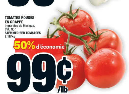 Tomates Rouges en Grappe du 30 au 6 mai 2020
