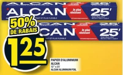 Papier D'aluminium Alcan 25 pi du 31 au 6 novembre 2019