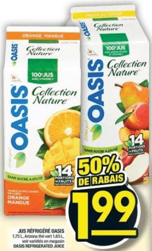 Jus Réfrigéré Oasis 1,75L du 31 au 6 novembre 2019