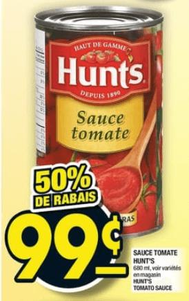 Sauce Tomate Hunt's 680 ml du 31 au 6 novembre 2019