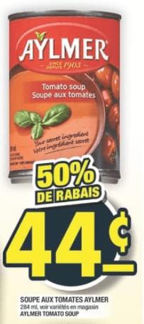 Soupe aux Tomates Aylmer du 31 au 6 novembre 2019