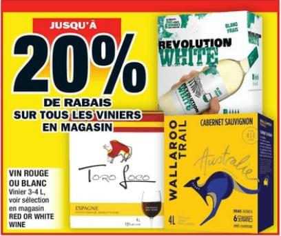 Vin Rouge ou Blanc 3-4L du 31 au 6 novembre 2019