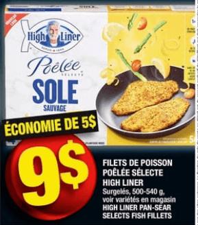 Filets de Poisson Poêlée Sélecte High Liner 500-540g du 4 au 10 juillet 2019