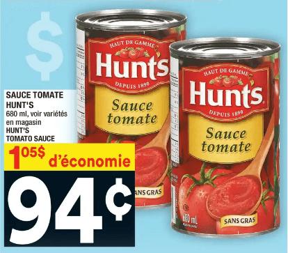 Sauce Tomate Hunt's du 4 au 10 juin 2020