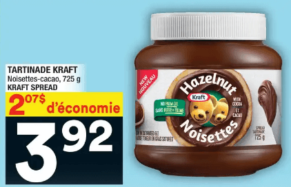 Tartinade Kraft Noisettes-Cacao du 4 au 10 juin 2020