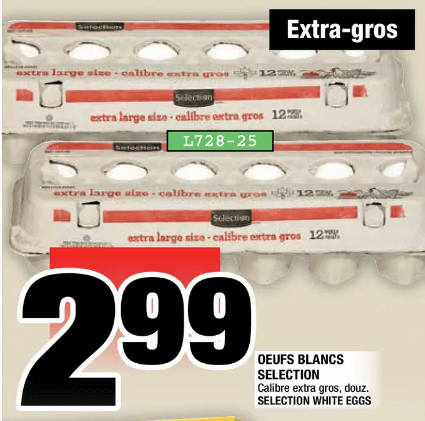 Oeufs Blancs Selection extra-gros 12un du 5 au 11 décembre 2019