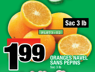 Oranges Navel Sans Pépins 3 lb du 5 au 11 décembre 2019