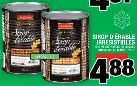 Sirop D'érable Irresistibles 540 ml du 5 au 11 décembre 2019