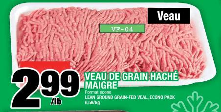 Veau de Grain Haché Maigre du 5 au 11 décembre 2019
