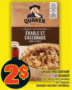 Gruau Instantané Quaker du 5 au 11 mars 2020