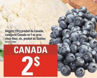 Bleuets 170g ou Gros Chou-Fleur du 5 au 11 septembre 2019