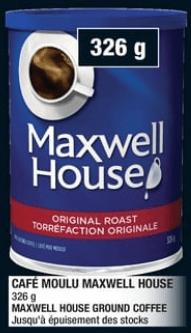 Café Moulu Maxwell House 326g du 5 au 11 septembre 2019