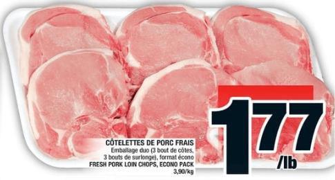 Côtelettes de Porc Frais du 5 au 11 septembre 2019