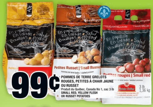 Pommes de Terre Grelots Rouges, Petites à Chair Jaune ou Russet 3 lbdu 6 au 12 juin 2019