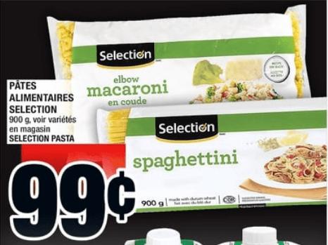 Pâtes Alimentaires Selection 900g du 6 au 12 juin 2019