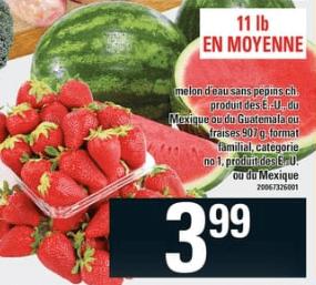 Melon D'eau Sans Pépins ou Fraises, Format Familial du 7 au 13 mai 2020