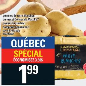 Pommes de Terre Blanches ou Russet Délices du Marché 10 lb du 7 au 13 novembre 2019