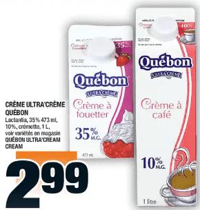 Crème Ultra'crème Québon, Lactantia, 35%, 10%, Crémette du 7 au 13 novembre 2019