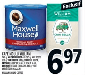 Café Mouli William 340g, Maxwell House 925g du 8 au 14 août 2019
