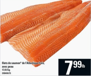Filets de Saumon de L'atlantique Frais du 8 au 14 août 2019