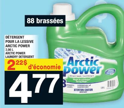 Détergent pour la Lessive Arctic Power 3,96L du 9 au 15 janvier 2020
