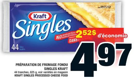 Préparation de Fromage Fondu Singles Kraft du 9 au 15 juillet 2020