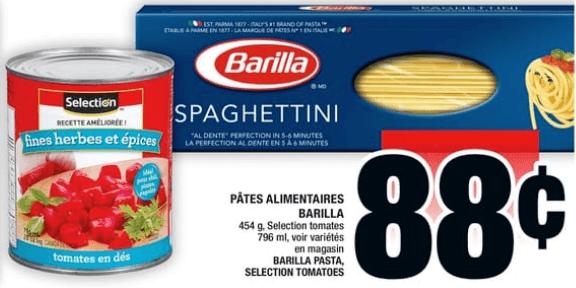 Pâtes Alimentaires Barilla 454g , Selection Tomates 796 ml du 9 au 15 mai 2019