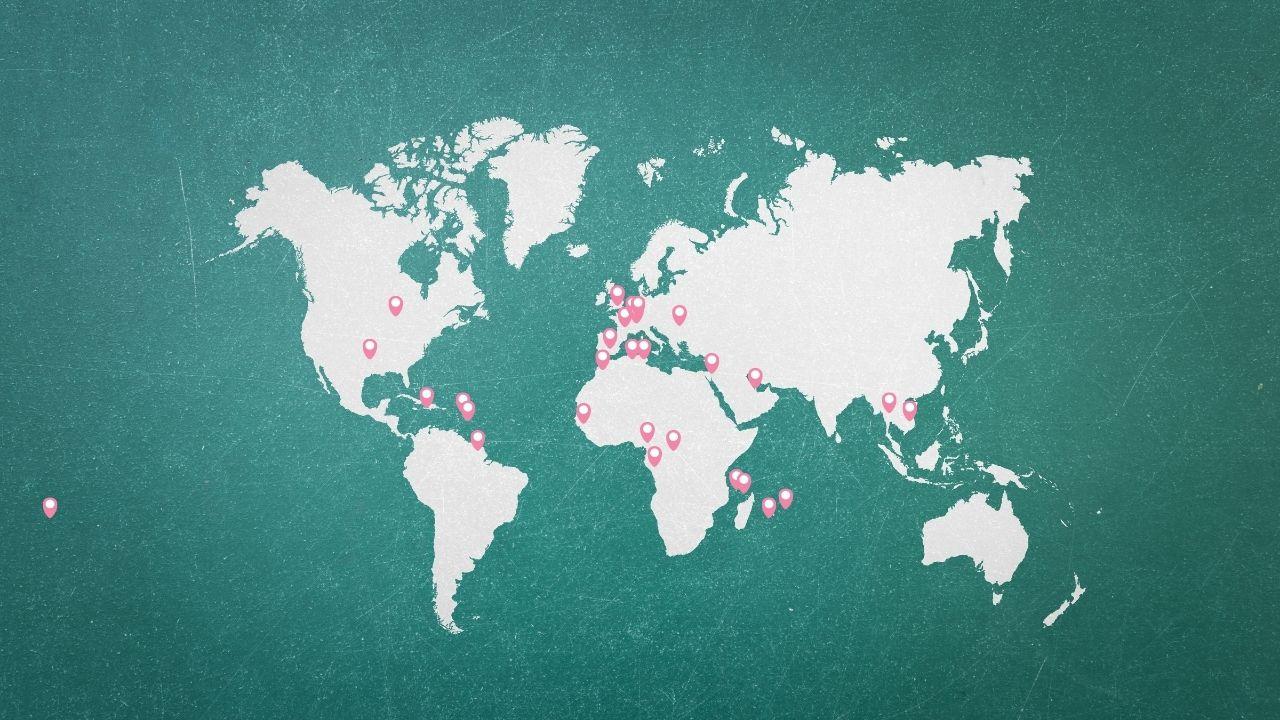 Carte des apprenants de la formations des sourciers dans le monde