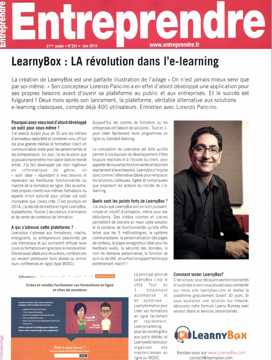 Magazine entreprendre LEarnyBox : la révolution dans l'e-learning